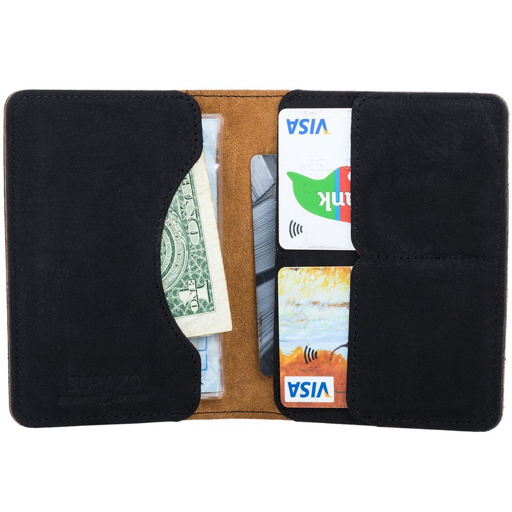 Surazo Bifold Leather Wallet RFID Nubuck - Black