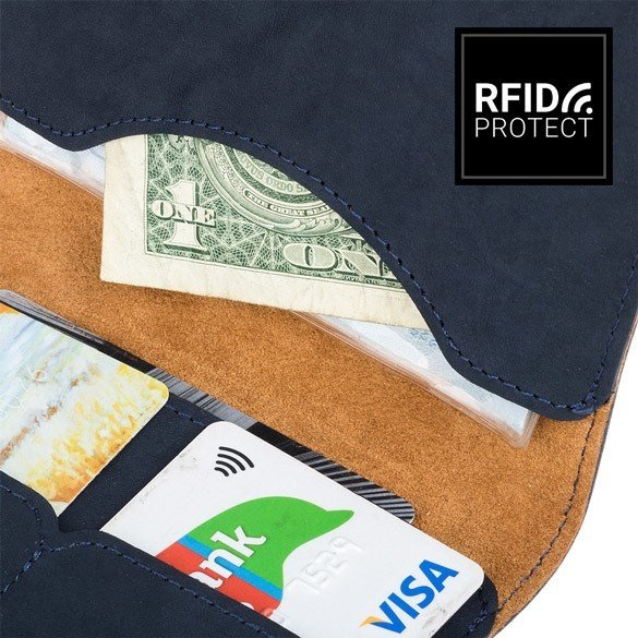Surazo® Bifold Leather Wallet RFID Nubuck - Navy Blue