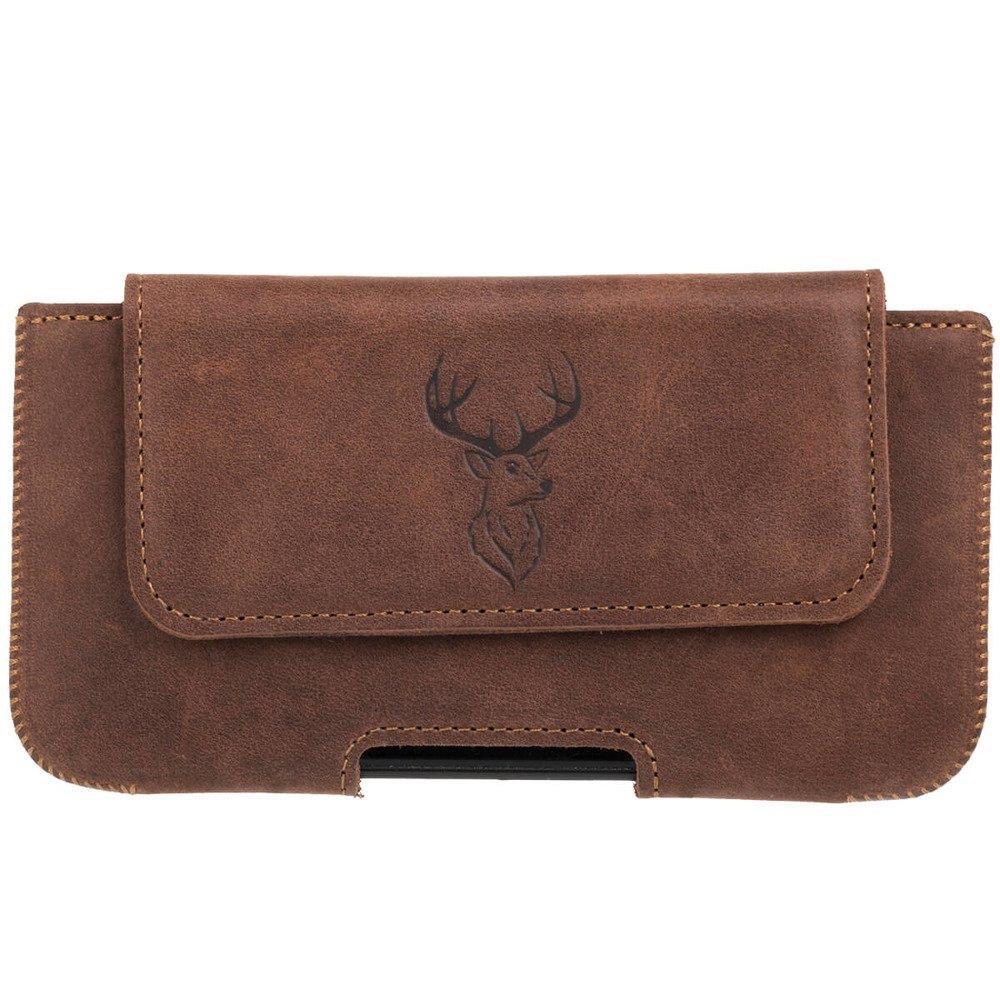 Surazo® Leather Belt Pouch case Nubuck - Nut brown - Deer