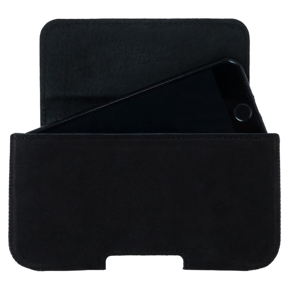 Surazo® Leather Belt Pouch case - Nubuck Black