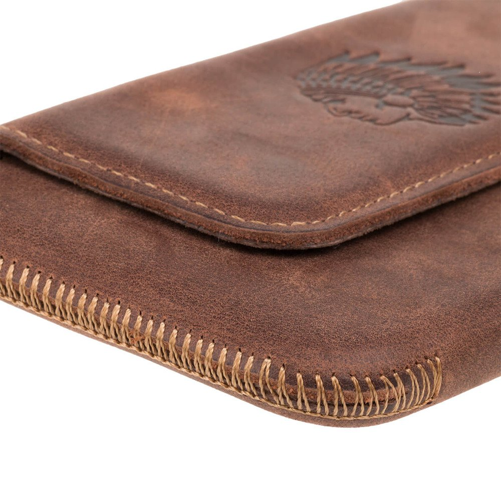 Surazo® Leather Belt Pouch case Nubuck - Nut brown - Indian