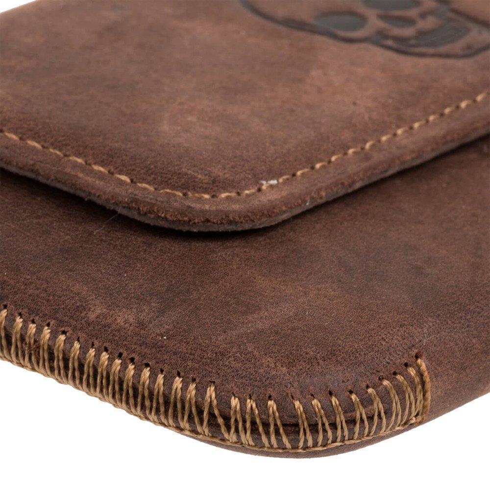 Surazo® Leather Belt Pouch case Nubuck - Nut brown - Skull