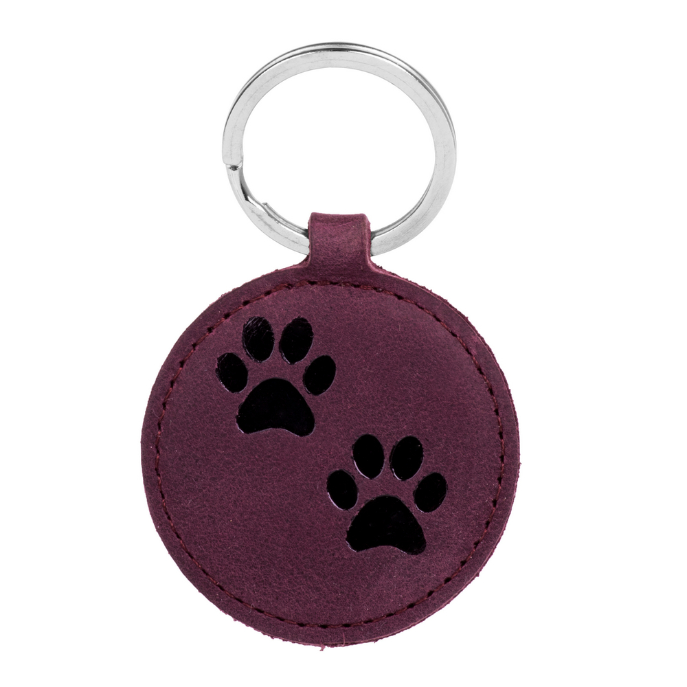 Surazo® Leather Wallet phone case - Nubuck Burgundy - Two Paws Black