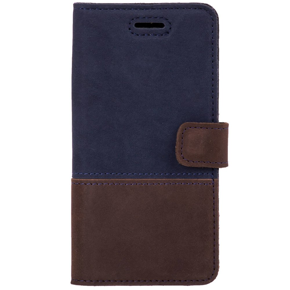 Surazo® Two-tone Horizontal Wallet phone case - Navy blue and Nut brown