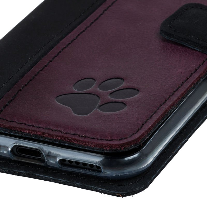 Surazo® Two-tone Wallet phone case - Black and Burgundy - Paw
