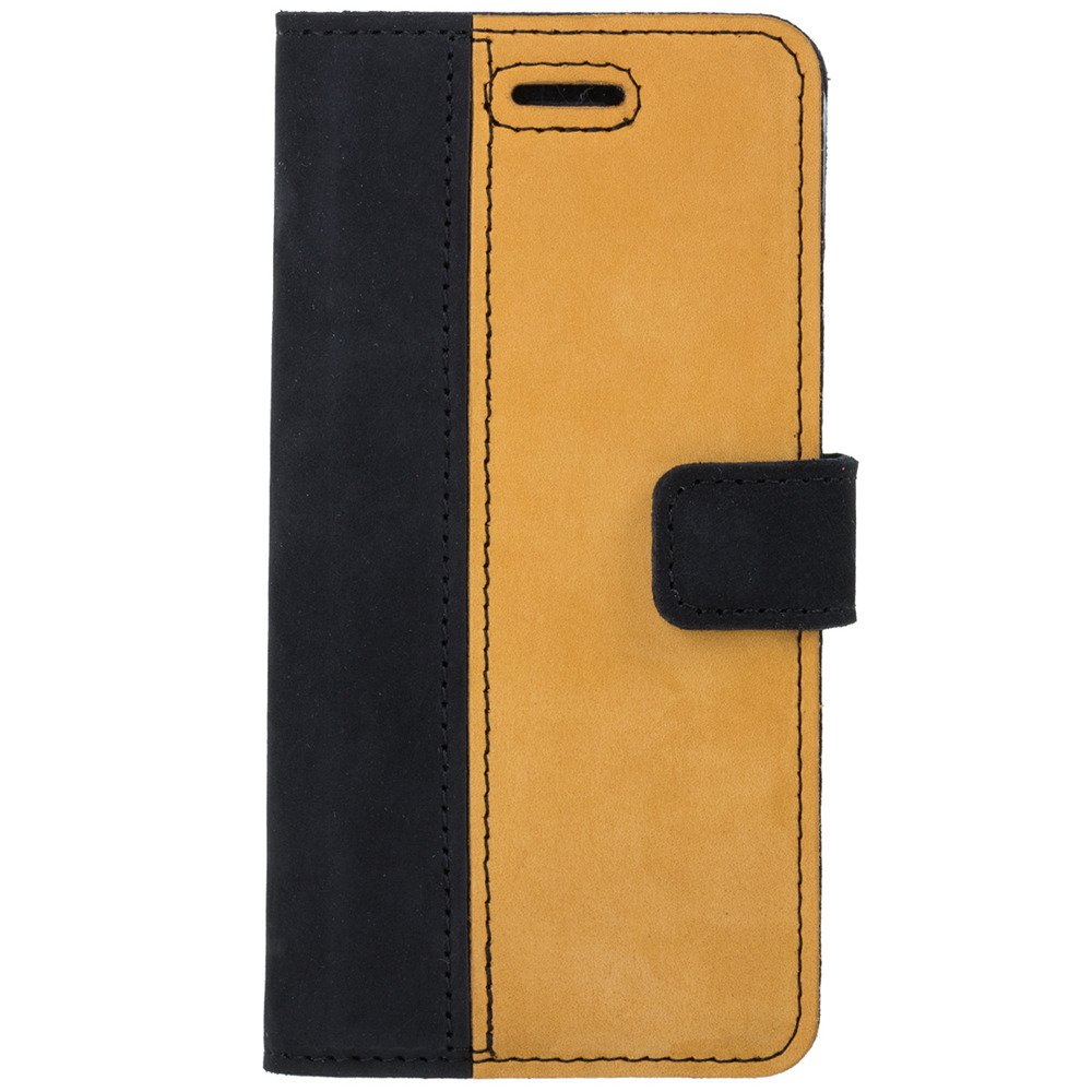 Surazo® Two-tone Wallet phone case - Black and Camel
