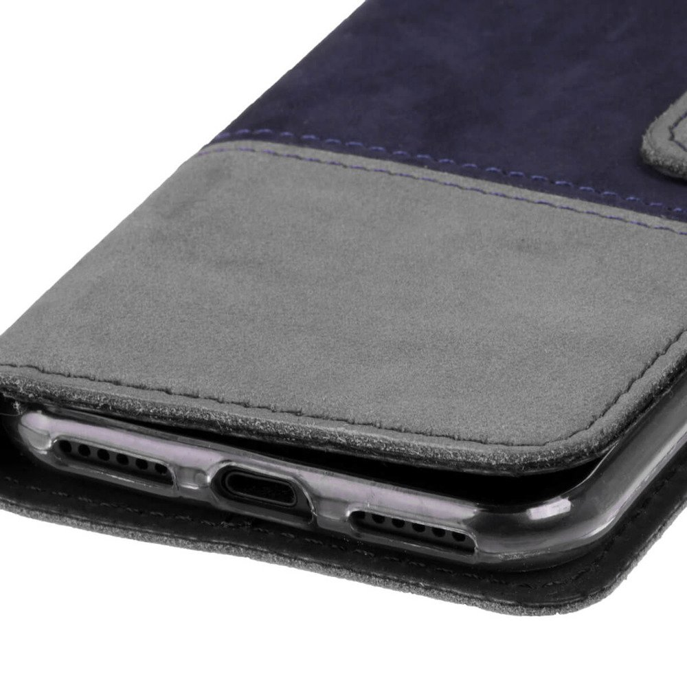 Surazo® Two-tone Horizontal Wallet phone case - Navy blue and Gray
