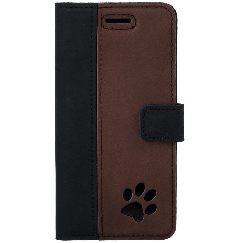 Surazo® Two-tone Wallet phone case - Black and Nut brown - Paw