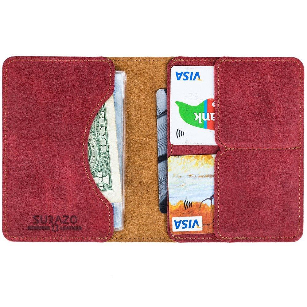 Bifold Leder Geldbörse RFID Nubuk - Rot