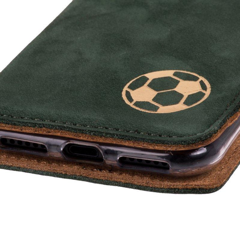Surazo® Smart Magnet RFID Lederhülle - Nubuk Dunkelgrün - Fußball
