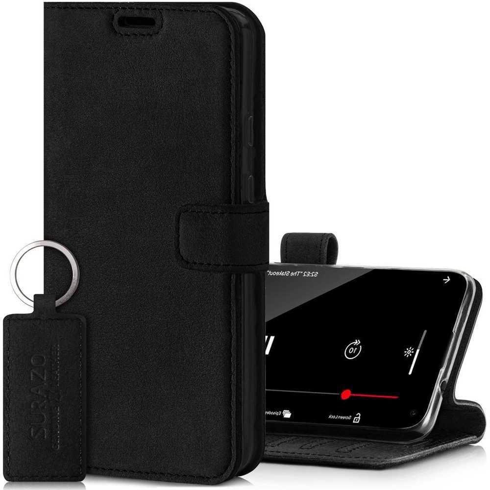 Surazo® Wallet Handy Lederhülle Nubuck - Schwarz