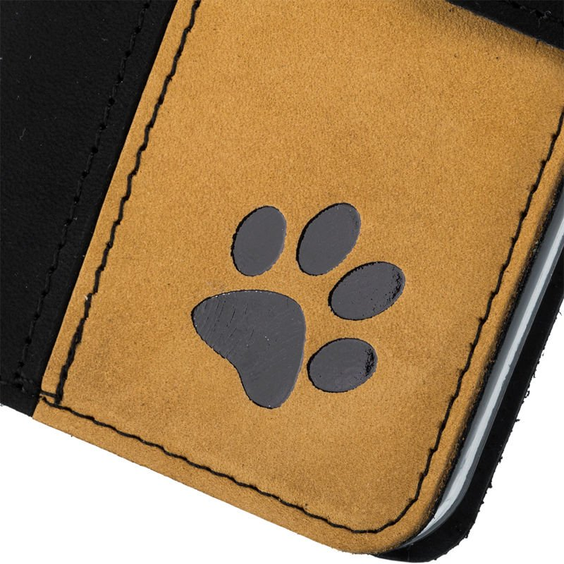 Surazo® Zweifarbige Wallet Lederhülle - Schwarz und Camel  - Pfote