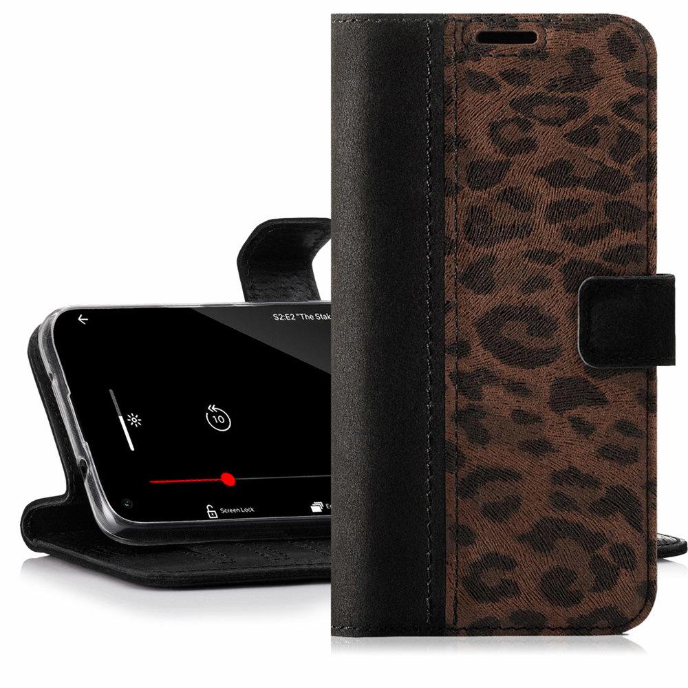 Surazo® Zweifarbige Wallet Lederhülle - Schwarz und Panther braun