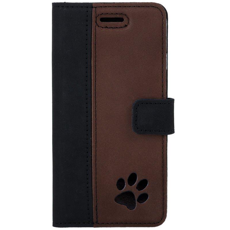 Wallet case - Nubuk Schwarz und Nussbraun  - Pfote