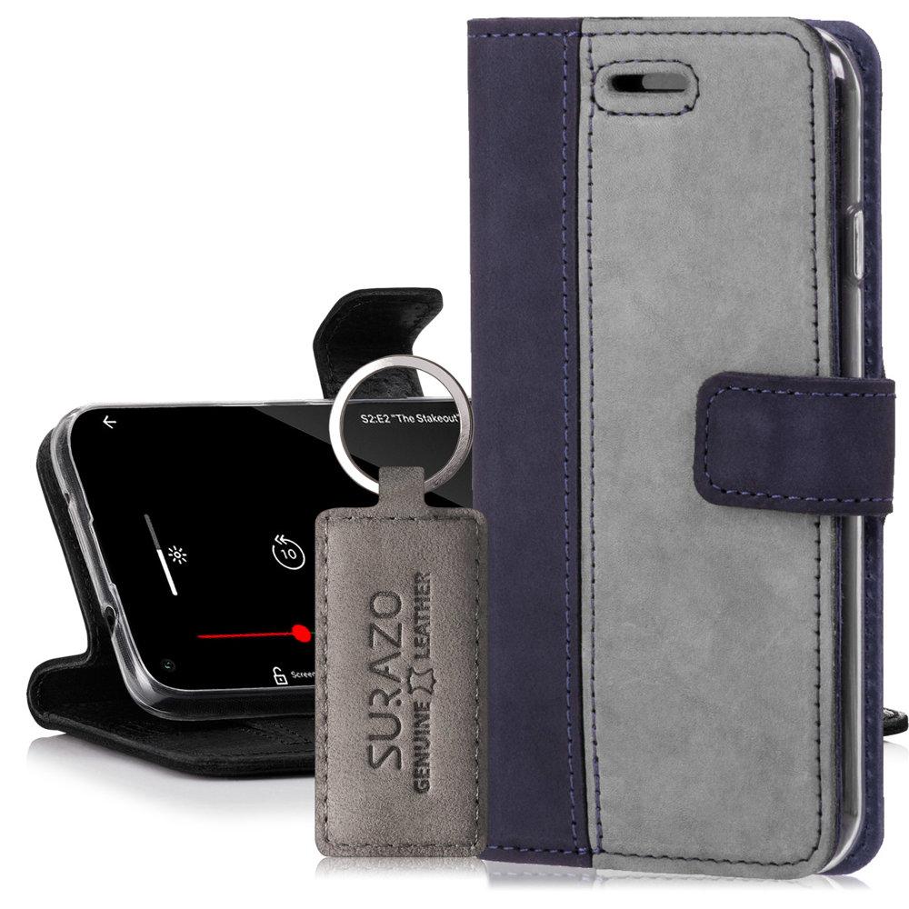 Surazo® Skórzane Etui Wallet case Duo - Granatowy i Szary